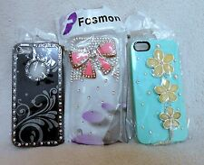 IPHONE 5 PLASTIC DECORATIVE RHINESTONE HOLDER/CASES, YOU GET 3, NEW!**
