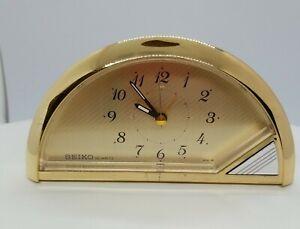 Vtg SEIKO Gold Tone  Quartz Table Alarm Clock  QEJ168G Japan Glow Hands WORKS