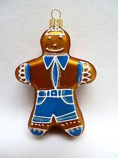 Gingerbread Man Blown Glass Christmas Ornament