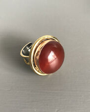 CHUNKY STATEMENT ARTISAN RING- ORANGE TONE/ NATURAL AGATE GEODE/ADJUSTABLE