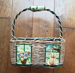 Wicker Basket Spring Ceramic Tile Flowers Handles Cat Window Decor Phillipines