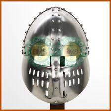 Norman Full Face Spangenhelm Crudader Iron Steel Viking Helmet w/ Leather Liner