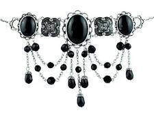 Black Stone Cabochon Gothic Teardrop Choker Necklace Victorian Steampunk Lolita