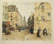 T.F. Simon etching, Rue Saint Jacques, Paris,1922, pencil signed