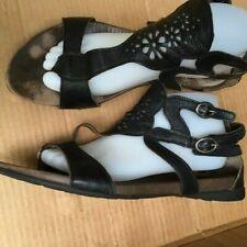 Think! Black Cut Out Leather Gladiator Flat Sandals Size US 9 EU40 Velcro close