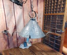 Primitive Punched Punch Tin Hanging Light Witches Hat 4 Arms