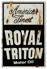 "Reproduction Royal Triton Motor Oil Sign 12""x18"""