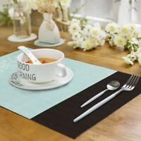 Placemats Set of 6 Woven Dining Table Mat PVC Washable Heat Resistant Decor Blue
