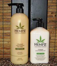 Hempz Original Body Wash Liter 33.8 oz & Original Moisturizing Lotion 17 oz Set