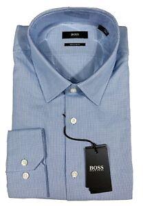 Men's HUGO BOSS Blue White Plaid Dress Shirt 17 1/2 34/35 Regular Fit NWT NEW