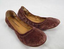 c897cfc929f3 Lucky BRAND Emmie Flats Sable Size 6m Brown Flower Velvet Round Toe Ballet  S21