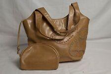 """Modapelle"" Ladies Brown Bag w/ Purse/Mirror - Floral Studs - Great! Bargain!"