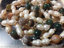 Pearl Jade Jadeite Nephrite Bead Necklace Goldtone Vintage