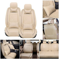 US 5-Seats Car SUV PU Leather Seat Covers L Size Cushion Front+Rear w/Pillow Set