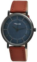 Qbos Herrenuhr Blau Braun Analog Metall Kunst-Leder Armbanduhr Quarz X2900174003