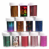 12 Colors Nail Art Transfer Foil Sticker for Nail Tips Decoration Set