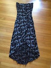 Bebe Tube Strapless Dress XS Extra Small High Low Style Black Red Blue Whitte