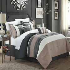 Chic Home Carlton Taupe Grey & Tan Comforter Bed In A Bag Set Microfiber