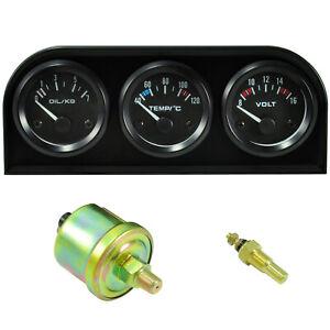 3 x Zusatzinstrument mit Halter Kühlmittel Wasser Temperatur Öldruckanzeige Volt