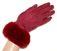GUANTES rojos mujer piel sintética gamuza elegante invierno luvas vermelhas G8