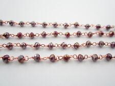 50 cm catenina rosario cristalli bordeaux scuro 3,5 mm concatenata  color rosè