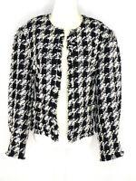 Joie Women's Awel Jacket Open Blazer US M Black White Houndstooth Twill Fringe