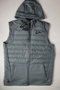 NIKE THERMA MEN WINTERIZED HOODED TRAINING GILET BODYWARMER - GREY BV4534-084 M