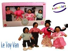 ETHNIC DOLLY FAMILY BLACK FIGURINES TOY VAN FAMILLE 4 WOODEN BUDKINS RARE DOLL