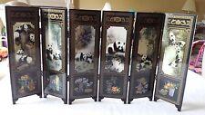 "Panda Bear Asian Painted Wood Table Screen Divider 6 Panel 9.5"" *18.5"" US Seller"