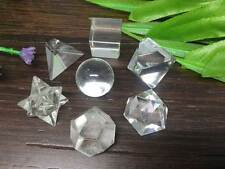 7 pc Clear Quartz Platonic Solids Sacred Geometric Set Crystal ~ GS4