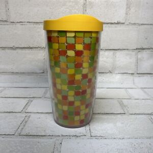 Tervis Tumbler-w/Lid-Yellow Orange Pattern 16 oz.-Excellent Used Condition