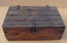 BARN FIND ANTIQUE DISTRESSED WOODEN CRATE BOX with VALVOLINE BOARDS INSECT HOLES