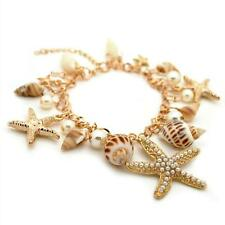 CUTE BEACHCOMBER CHARM BRACELET Summer Beach Real Shell NEW Starfish Faux Pearl