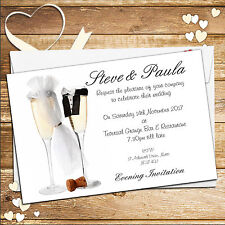 10 Personalised Champagne Flutes Wedding Invitations Day/Evening N14