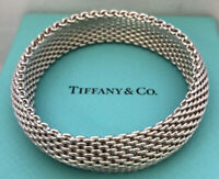 TIFFANY & CO 925 Sterling Somerset Mesh Bracelet 59.1g 16mm Sz L w/ Pouch & Box