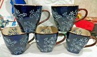 Lot of 5 NEW Temp-Tations Floral Lace Mugs Coffee Cup by Tara Dark Blue 12 oz