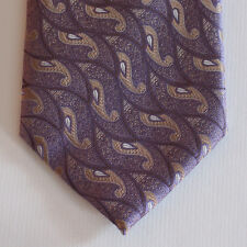 NEW Andrea Garavani Silk Neck Tie & Pocket Square Purple & Beige Paisleys 1635
