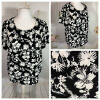 BONMARCHE Ladies Black/White Top Size 20 Floral Short Sleeve Smart Casual Holida