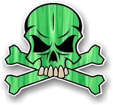 Skull & crossbones design & couleur vert pirate motif vinyle autocollant voiture décalque
