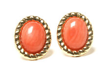 9ct Gold Oval Coral Stud earrings Gift Boxed Made in UK