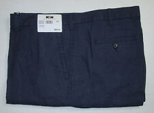 $89 New Jos A Bank JOSEPH ABBOUD Linen flat front shorts in solid Blue 38 W