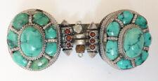 Broche Népal Tibet en argent massif + turquoise silver brooch