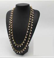 Collier Sautoir Multi-rangs Plaqué Or Perle Culture Violet Tassel Chic 150cm TZ6