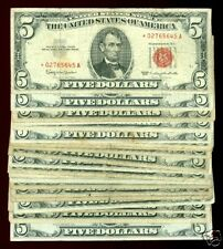(25) 1953 1963 $5 RED SEAL w/star note Abraham Lincoln