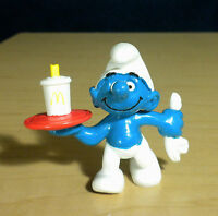 Smurfs 20162 Waiter Smurf McDonalds 1996 Figure Vintage PVC Original Toy Promo