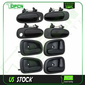 8Pcs for 93-97 Corolla Prizm Black Right & Left Side Front & Rear Door Handles