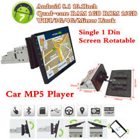 "10.1"" Android 8.1 Quad-core 1Din Car Radio Stereo MP5 Player GPS Sat Navigator"