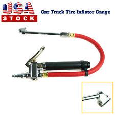 "Air Tire Pressure Filler | Dual Chuck Inflator Car Gauge 12"" Compressor Hose"