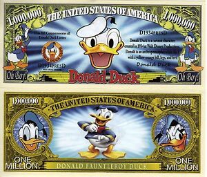 Donald Duck - Disney Character Million Dollar Novelty Money