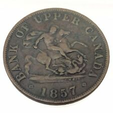 1857 Bank of Upper Canada One 1 Half 1/2 Penny Token Copper Canadian Coin B528